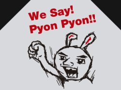 画像1: We Say Pyon Pyon!! Tシャツ グレー×ブラック