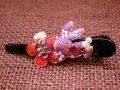 和柄うさぎとお花のヘアクリップ 紫