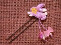 和柄うさぎのUピン 紫