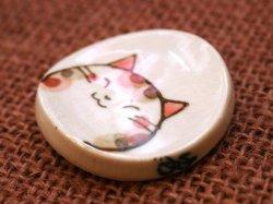 画像2: 三毛猫染付箸置 茶