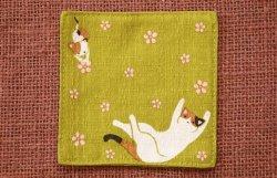 画像1: 和柄コースター 三毛猫 若草