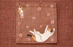 画像1: 和柄コースター 三毛猫 茶